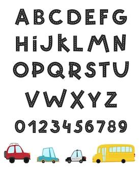 Alfabeto stradale e numeri stradali set di auto per bambini in stile cartone animato trasporto divertente