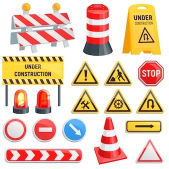 Barriera stradale strada barriera stradale in costruzione blocchi di avvertimento barricata su autostrada illustrazione set di deviazione di blocco stradale e barriera stradale bloccata isolato su sfondo bianco