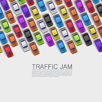 Trasporto di auto su strada, sfondo di ingorghi stradali. illustrazione vettoriale