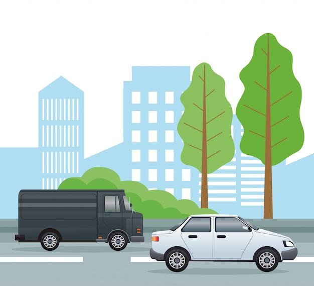 Scena di paesaggio urbano stradale con illustrazione di veicoli