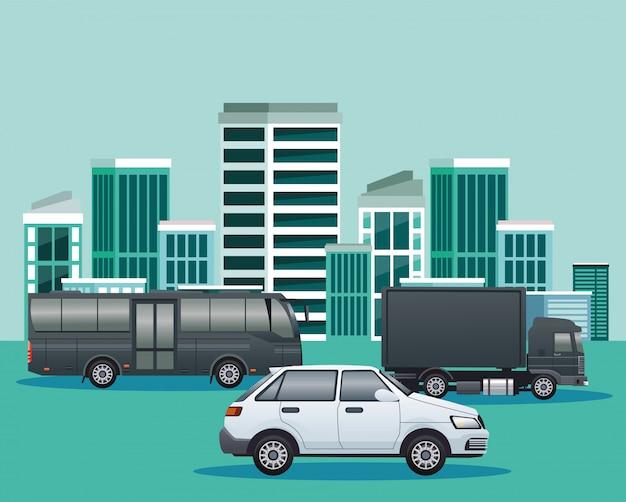 Scena di paesaggio urbano stradale con veicoli