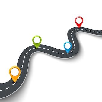 Illustrazione infografica stradale con perno, puntatore. concetto di informazioni stradali. strada asfaltata e perni colorati.