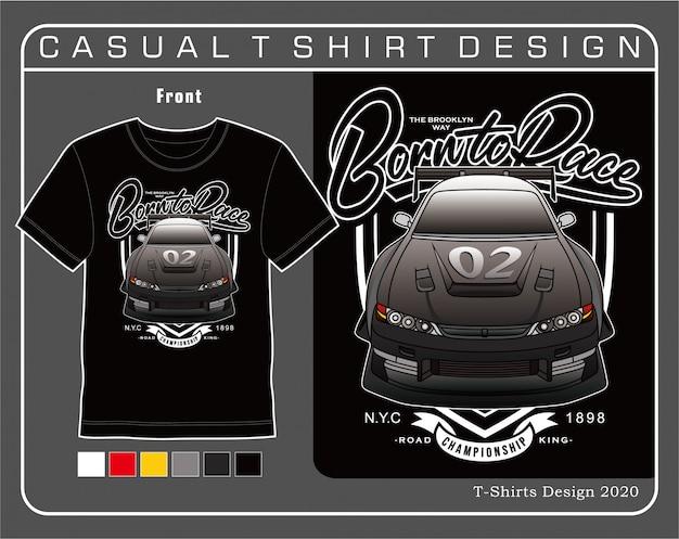Re della strada nato per correre, illustrazione tipografia auto per t-shirt
