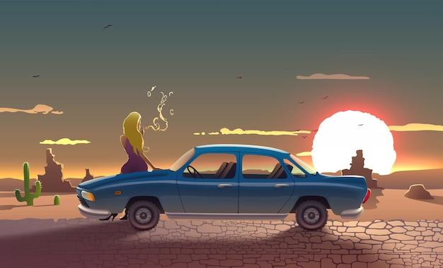 Paesaggio stradale con donna autista fumatori auto retrò con pietre e cactus delle montagne del sole dell'arizona