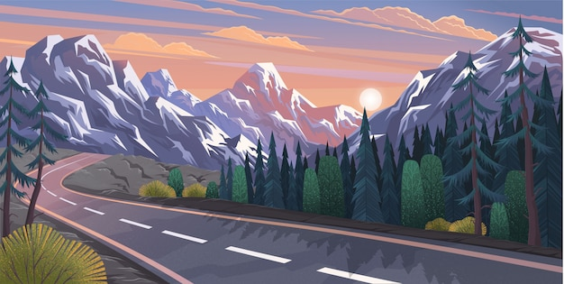 Strada che conduce al paesaggio naturale delle montagne