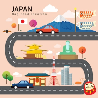 Mappa stradale e percorso di viaggio in giappone