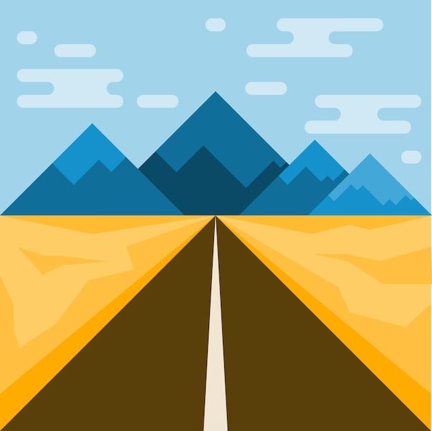 Strada e montagne. illustrazione astratta per l'uso nel design. stile piatto.
