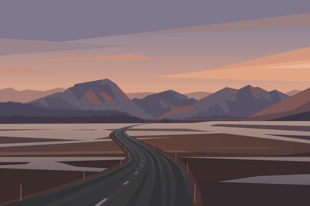 Strada per le montagne illustrazione vettoriale paesaggio bellissima natura nordica viaggio su strada all'aperto