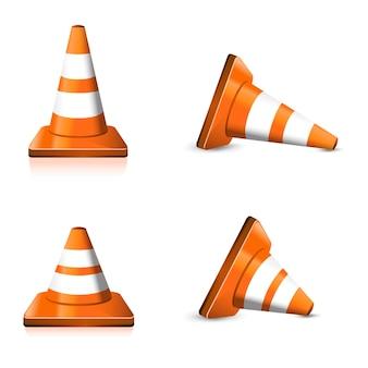 Set cono arancione da strada