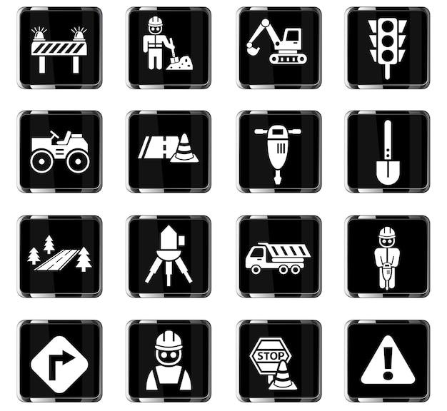 Icone web di riparazioni stradali per la progettazione dell'interfaccia utente