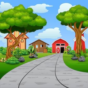 Una strada per l'illustrazione di fattoria rurale