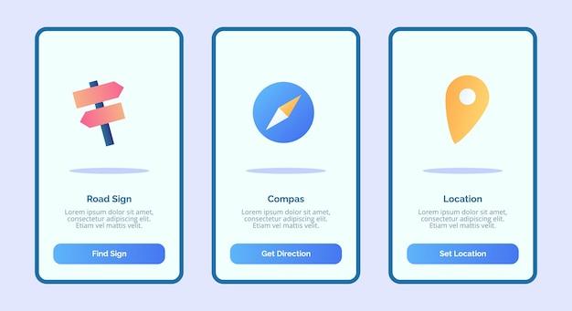 Posizione bussola del segnale stradale per l'interfaccia utente della pagina banner modello di app mobili