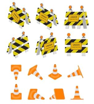 Segnale stradale in costruzione e cono stradale. segnale di avvertimento in isometria, 3d e viste prospettiche. design isometrico piatto. set di barriere. colori differenti. illustrazione vettoriale.