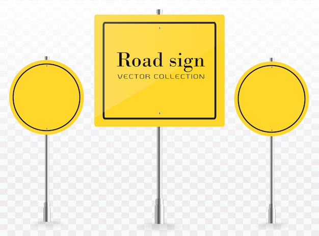 Segnaletica stradale. raccolta gialla dei modelli dei segnali stradali del piatto di vettore