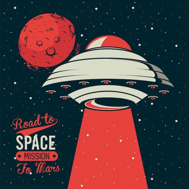 Lettering road to space con ufo che vola in illustrazione stile vintage poster