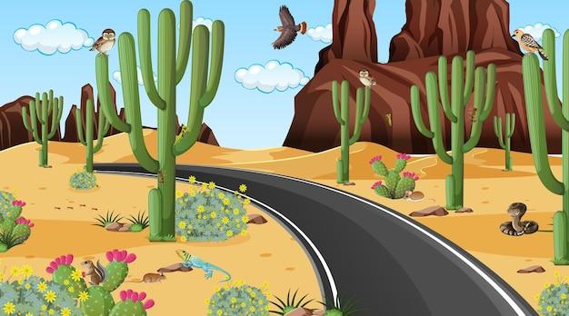 Strada attraverso la scena del paesaggio della foresta del deserto con animali del deserto
