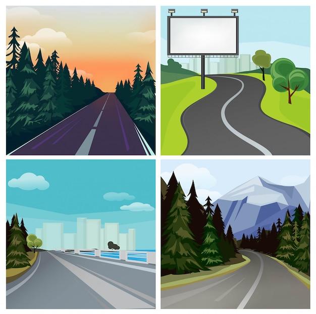 Road to town. tipi differenti scenici di strada della strada esterna della strada principale