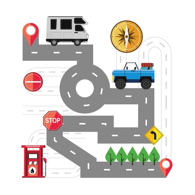 Stazione di pompaggio per auto con cartello stradale mappa di viaggio