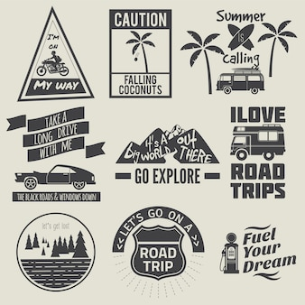 Raccolta di citazione di viaggio stradale in bianco e nero
