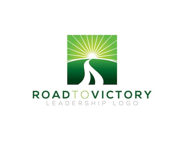 Modello di logo di strada per la vittoria