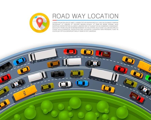 Posizione della strada, copertina dell'arte delle informazioni sulle corse automobilistiche. illustrazione vettoriale