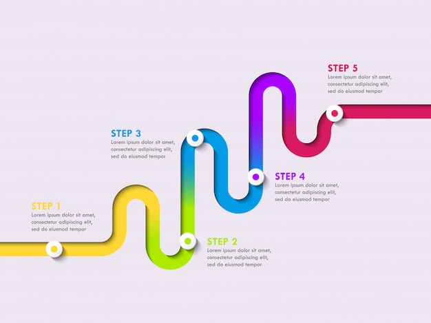 Modello di infografica posizione strada modo con una struttura graduale. elegante serpentina a forma di frecce lineari