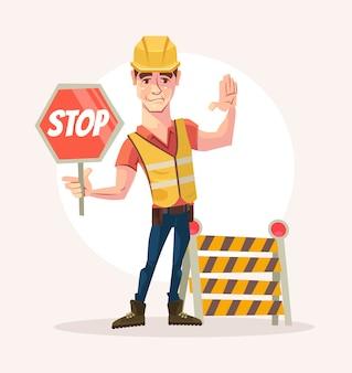 Il carattere dell'uomo dell'operaio stradale tiene il segnale di stop. illustrazione di cartone animato piatto