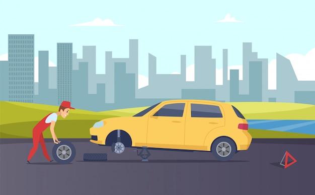 Assistenza stradale. servizio di montaggio pneumatici. meccanico di automobile del fumetto che cambia le ruote dell'automobile sull'illustrazione della strada