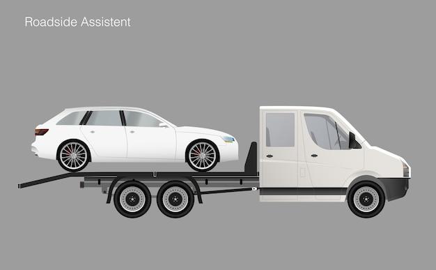 Automobile dell'illustrazione del camion di rimorchio di assistenza stradale.