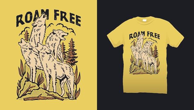 Illustrazione del branco di lupi in libertà