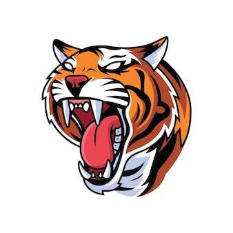 Fumetto della tigre della testa di ruggito su priorità bassa bianca