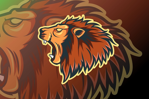 Modello di logo della squadra di e-sport di leone ruggente