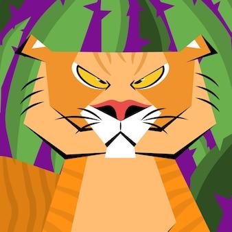 Tigre ruggente. simbolo del 2022. illustrazione vettoriale piatta.