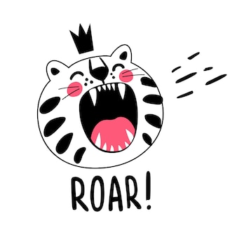 Gatto ruggente a strisce bianche con corona sulla testa. il bambino tigre è cattivo, fa scherzi, diventa irritabile.