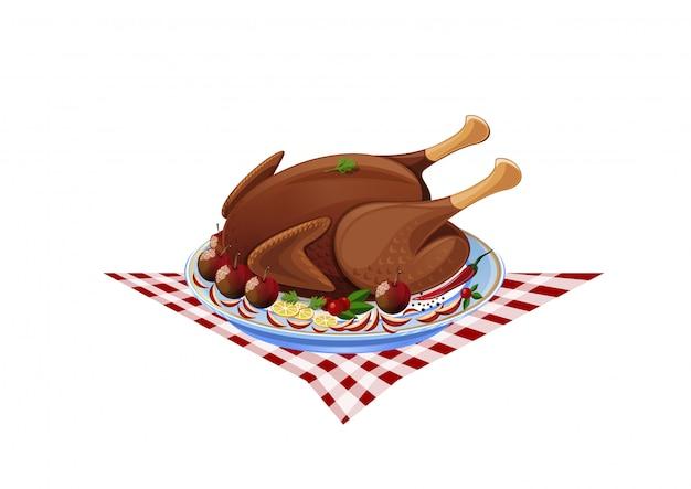 Tacchino arrosto su un piatto. pollo fritto con contorno.