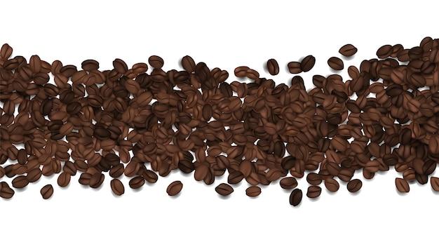 Chicchi di caffè tostati. fagioli di vettore isolati su bianco. sfondo di caffè