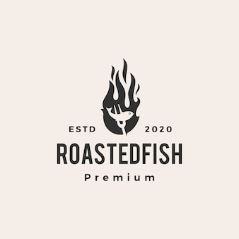 Pesce arrosto fuoco fiamma icona logo vintage illustrazione
