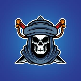 Logo della mascotte di robber e sport