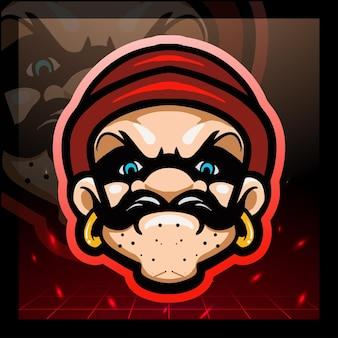 Design del logo della mascotte della testa del ladro