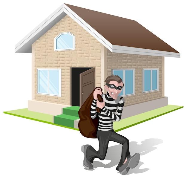 Il ladro in maschera trasporta la borsa. il ladro rapina la casa. assicurazione sulla proprietà.