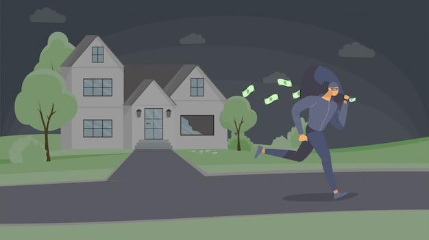 Ladro che ruba l'illustrazione piana dei contanti.