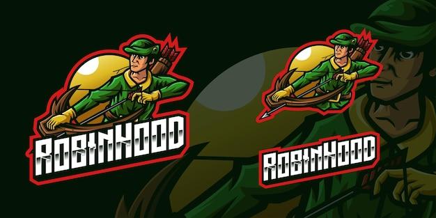 Logo della mascotte di gioco di robin hood archer per lo streamer e la community di esports