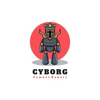 Robot personaggio mascotte logo design illustrazione vettoriale