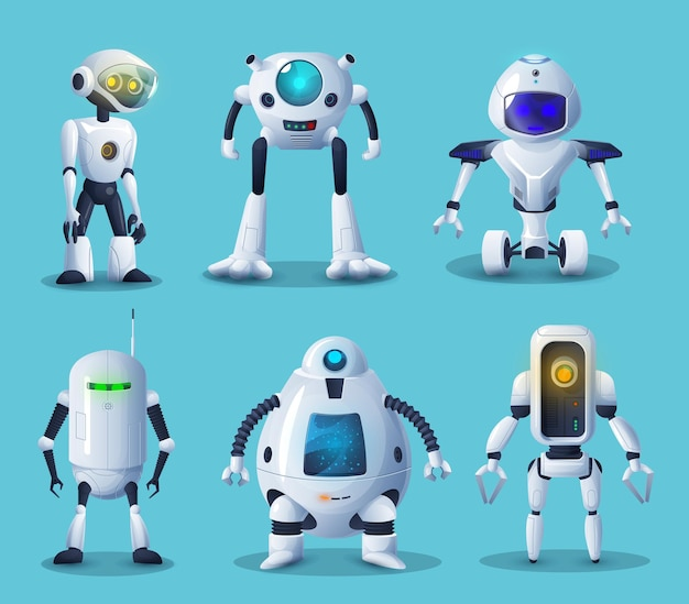 Robot e personaggi bot android delle tecnologie di intelligenza artificiale