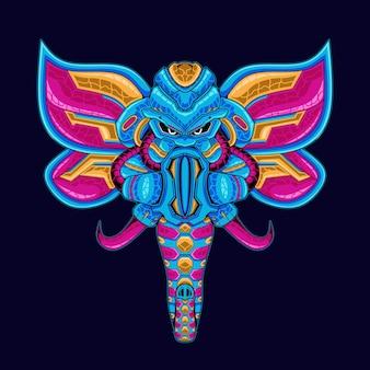 Illustrazione della mascotte dell'elefante animale robot