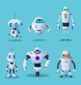 Personaggi dei cartoni animati robot di vettore ai tecnologia e scienza del futuro.