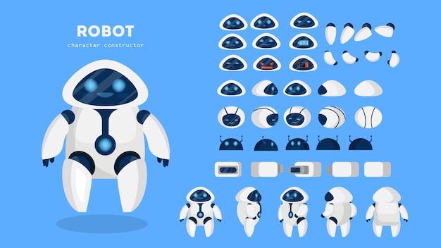 Personaggio robot per l'animazione con varie viste