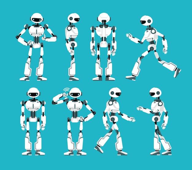 Personaggio robot. meccanismo robotico dei cartoni animati, insieme di vettore umanoide