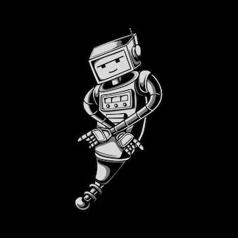 Illustrazione del personaggio del robot con colorazione in bianco e nero retrò
