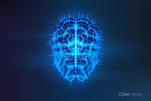 Robot o cyber cervello con punti di geometria